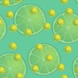Vector Illustration von Zitronenscheiben in den selben Größen auf Türkishintergrund Muster Stockfoto