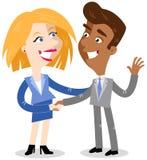 Vector Illustration von zwei Karikaturgeschäftsleuten, welche die Hände rütteln, die ein Abkommen machen stock abbildung