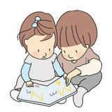 Vector Illustration von zwei Kleinkind-, Bruder- und Schwester-, Sitzen- u. Leseabc-Alphabetbuch zusammen Kindheitsentwicklung stock abbildung