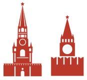 Vector Illustration von zwei Veränderungen von spasskaya Turm und req Stockfotografie