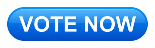 Vote now button. Vector illustration of vote now blue button icon on white background Stock Photo