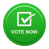 Vote now button. Vector illustration of vote now green button icon on white background Royalty Free Stock Images