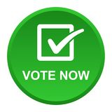 Vote now button. Vector illustration of vote now green button icon on white background Stock Photo