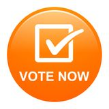 Vote now button. Vector illustration of vote now orange button icon on white background Stock Images