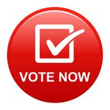 Vote now button. Vector illustration of vote now red button icon on white background Stock Photo
