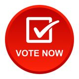 Vote now button. Vector illustration of vote now red button icon on white background Royalty Free Stock Photography