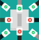 Vector illustration voting concept - hand putting voting paper i. N the ballot box. Hand casting a vote. Vote ballot in hand with box in flat style. Infographics royalty free illustration