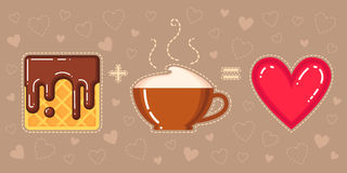 Vector illustration of waffle with chocolate glaze, cappuccino cup and red heart Stock Images