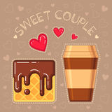 Vector illustration of waffle with chocolate glaze and coffee cup Stock Photo