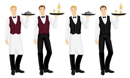 Vector illustration of waiter with tray. Isolated on white background. Young man in formal vest, skirt, white blouse, tie and white apron Stock Photography
