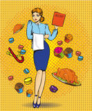 Vector illustration of waitress female, retro pop art comic style. Vector illustration of beautiful woman with menu. Waitress character, sweets, pastry, roasted Vector Illustration