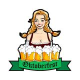 Vector illustration of waitress with mugs of beer. Oktoberfest logo. Vector illustration of waitress with mugs of beer. Oktoberfest logo, sticker. Vector Stock Photos