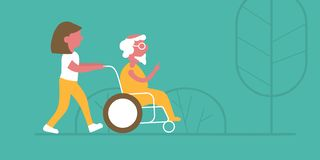 A vector illustration of a walk in a nursing home royalty free illustration