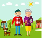 Vector Illustration of  walking adult people  and landscape Stock Photo