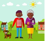 Vector Illustration of  walking adult people  and landscape Stock Photography