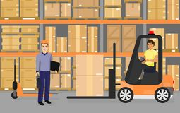 Vector illustration of warehousing, goods and boxes on shelves in the warehouse and team of workers, transport and royalty free illustration