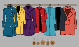 Warm clothes sale vector illustration