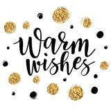Vector illustration of `Warm wishes` lettering. With tinsel for greeting card, banner, poster Stock Images