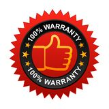 100% warranty label. Vector illustration of 100% warranty label with thumbs up sign. stamp or seal on isolated white background royalty free illustration