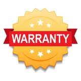Warranty seal stamp. Vector illustration of warranty seal golden star on isolated white background royalty free illustration
