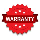 Warranty seal stamp. Vector illustration of warranty seal red star on isolated white background royalty free illustration