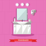 Vector illustration of washbasin and accessories in flat style Stock Image