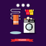 Vector illustration of washer and accessories in flat style Royalty Free Stock Image