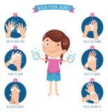 Vector Illustration Of Washing Hands. Eps 10 royalty free illustration