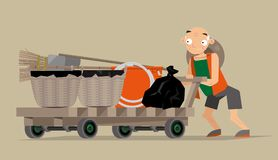 Vector illustration of a waste collector in Hong Kong. Vector illustration of a waste collector pushing his wooden cart and begin his job royalty free illustration