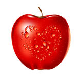 Vector illustration of water drop on red apple Royalty Free Stock Photos