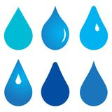 Vector illustration of water drops. Collection on white background - six types Royalty Free Stock Image