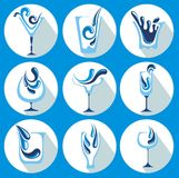 Vector Illustration of water glasses Royalty Free Stock Photo