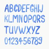 Vector illustration. Watercolor or aquarelle blue. Font. Handdrawn alphabet with numbers Royalty Free Stock Image