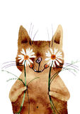 Vector illustration, watercolor cat Royalty Free Stock Photo