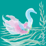 Vector illustration of watercolor duck. Drawing on a green background delicate watercolor duck on the pond waves for decoration and design Royalty Free Illustration