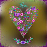 Vector illustration of watercolor floral heart and text love. Royalty Free Stock Photos