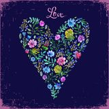 Vector illustration of watercolor floral heart and text love. Colorful floral heart on dark backdrop. Love or spring card. Royalty Free Stock Image