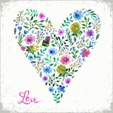 Vector illustration of watercolor floral heart and text love. Colorful floral heart. Love or spring card. Stock Images