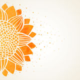 Vector illustration with watercolor sunflower Royalty Free Stock Photo