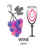 Vector illustration of watercolor wine glass and grapes. Stock Image