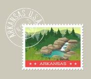 Vector illustration of waterfall and hot springs, Arkansas Stock Photo