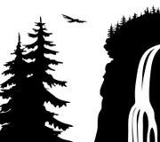 Vector illustration. Waterfall. Stock Illustration