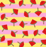 Vector illustration of watermelon ice cream slices on a stick with colorful pattern background Stock Image