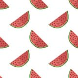 Vector illustration of watermelon slices on a light background. Bright fruity seamless pattern with a juicy watermelon image. Vector illustration of watermelon stock illustration