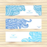 Vector illustration, wave banners with ocean waves can be used as a greeting card. Banners on wood background. Royalty Free Stock Image