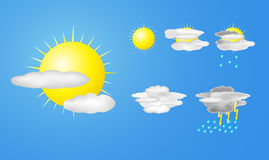 Vector illustration of weather icons Royalty Free Stock Image