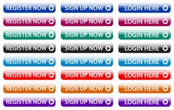 Register now, sign up now, login here web buttons stock illustration