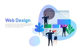 Vector illustration. Web design creative teamwork. People are building a business project on the Internet. The monitor Stock Photo