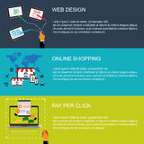 Vector illustration of web design, online shopping, pay per click, concept in flat style for web Stock Photos