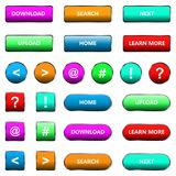 Vector illustration of web elements button set. Vector illustration of web elements button color set Royalty Free Stock Photos